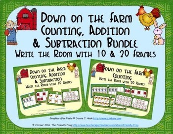 Farm Count, Add & Subtract Bundle with 10 & 20 Frames {Sub
