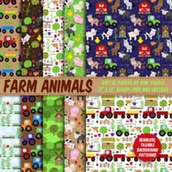 Farm Digital Paper, Farm Animal Scrapbook Paper - Commerci