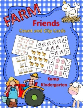 Farm Friends Count and Clip Cards (Sets to 12)