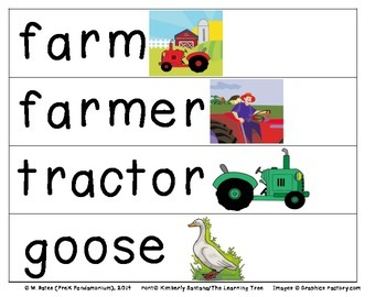 Farm Pocket Chart Word Cards