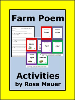 Farm Poem and Literacy Activities