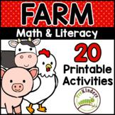 Farm Printable Math & Literacy Activities for Pre-K, Presc