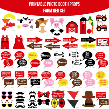 Farm Printable Photo Booth Prop Set