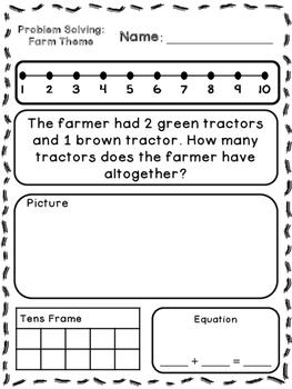 Farm Theme Addition & Subtraction Word Problems (Kindergar