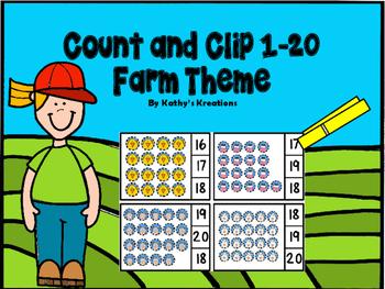 Farm Theme Count And Clip 1-20