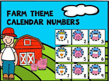 Farm Theme Calendar Numbers 1-31