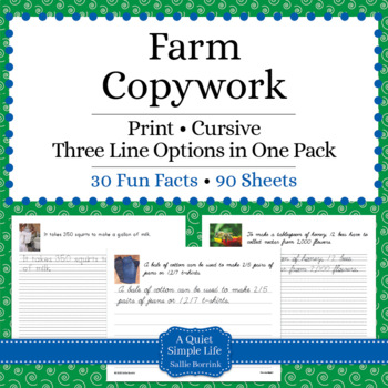 Farm Unit - Copywork - Print - Handwriting