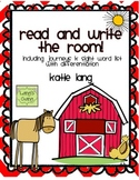 Farm Unit Read and Write the Room-Kindergarten Word List