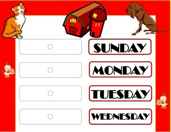 Farm Weekday Chart! Farm Bulletin Board! Farm Theme Classr