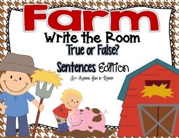 Farm Write the Room - True or False Sentences Edition