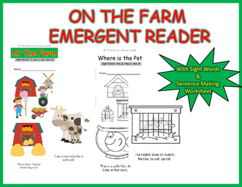Farm and Pet Animal Emergent Reader Book Grade - 1 with Si