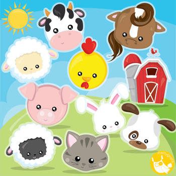 Farm animal faces clipart commercial use, vector graphics,
