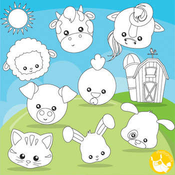 Farm animal faces stamps commercial use, vector graphics,