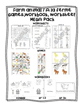 Farm animals / A la ferme FRENCH Workbooks, Worksheets & G