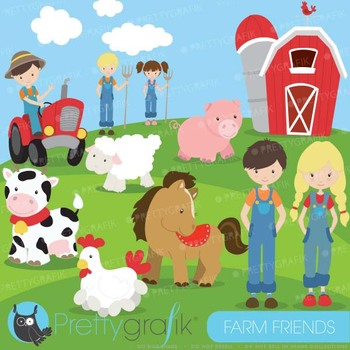Farm animals and friends clipart commercial use, vector gr