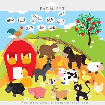 Farm animals clipart - clip art, cow, pig, goat, sheep, fa