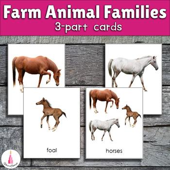Farm animal families Montessori 3-part cards