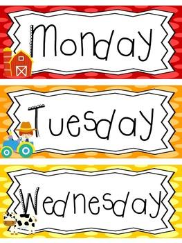 Farm themed Printable Days of the Week Classroom Bulletin