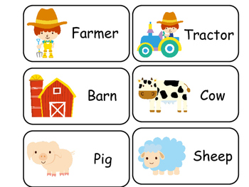 Farm themed printable Picture Word Flash Cards. Preschool
