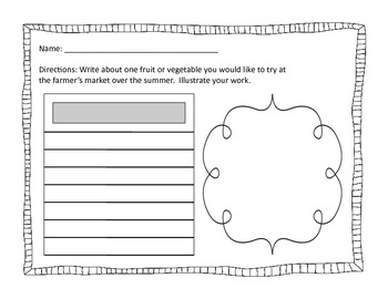 Farmer's Market Printable Class Book Page for Rah, Rah, Radishes!