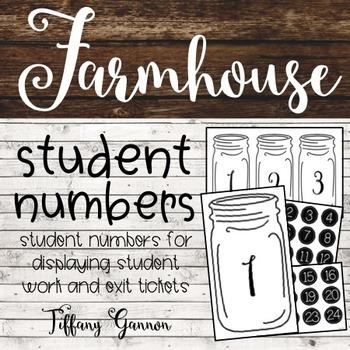 Farmhouse Student Display Numbers {Farmhouse Classroom}