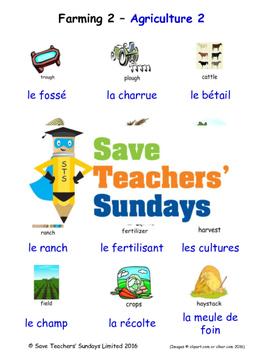 Farming 2 in French Worksheets, Games, Activities and Flash Cards