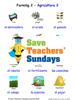 Farming in Spanish Worksheets, Games, Activities and Flash