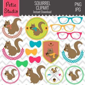 Squirrel Clipart // Hipster Clipart // Glasses Clipart - A