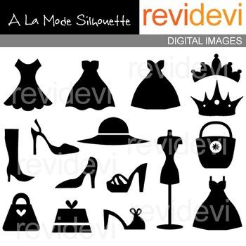 Fashion clip art silhouette (dress, heels, boutique)