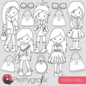 Fashion girls stamps commercial use, vector graphics, imag