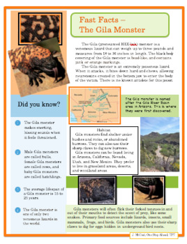 Fast Facts - Gila Monster