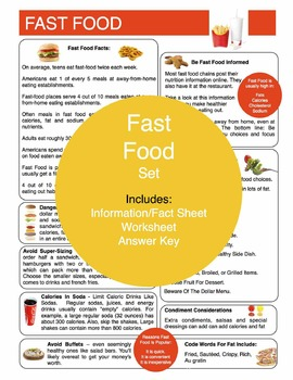 Fast Food Content Sheet, Worksheet And Answer Key