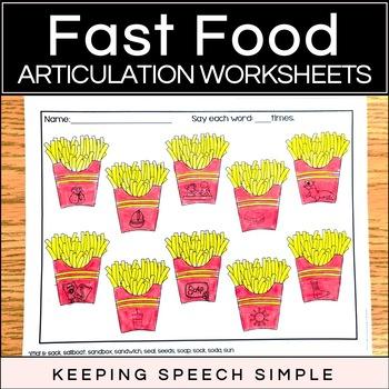Fast Food No Prep Articulation Worksheets