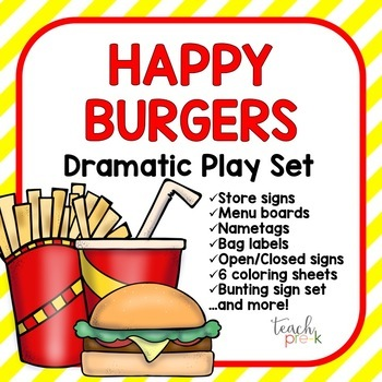 Fast Food Restaurant/Burger Joint Dramatic Play Set