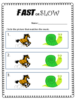Fast and Slow - Listening Visuals & Worksheet