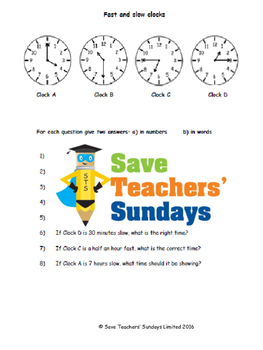 Fast and slow clocks lesson plans, worksheets and more