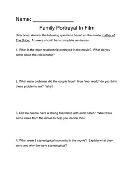 Father of the Bride Video Guide Worksheet