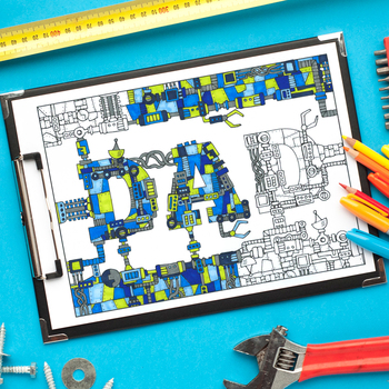 """Father's Day """"Dad"""" Mechanical Coloring Page - 8.5 x 11"""" in"""