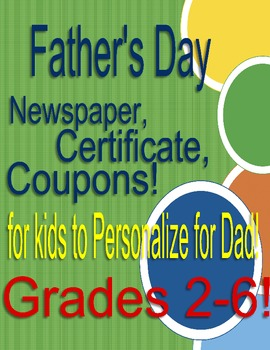 Father's Day BEST DAD EVER award, newspaper article, coupo