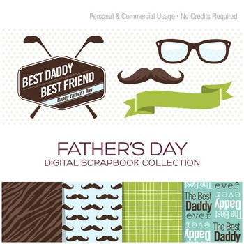Father's Day Paper and Clipart Collection - C00003