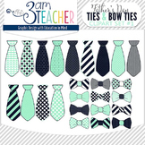 Father's Day Ties & Bow Ties Clipart Set: Navy & Sea Green