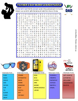 Father's Day Word Search Puzzle for fun in all classes