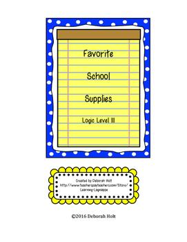 Favorite School Supplies Logic Puzzle Level 3