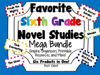 Favorite Sixth Grade Novel Studies Mega Bundle