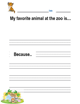 Favorite Zoo Animal Lined Writing Paper
