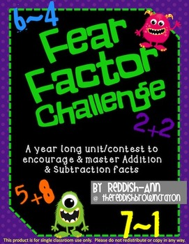 Fear Factor Addition & Subtraction Yearlong Challenge