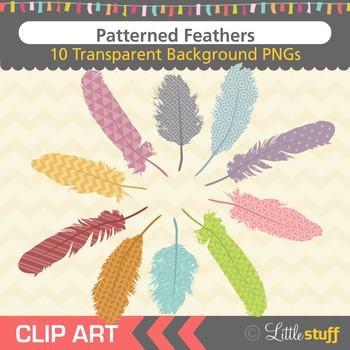 Feather Clipart, Patterned Feather Clip Art, Tribal Feathe