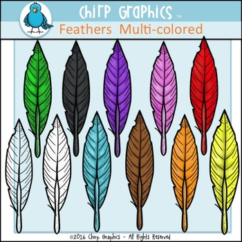 Feathers Multi-Colored Clip Art Set - Chirp Graphics