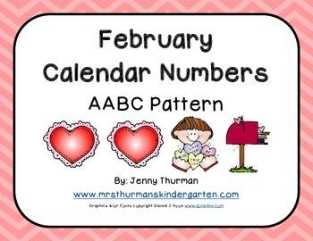 February Calendar Numbers AABC Pattern
