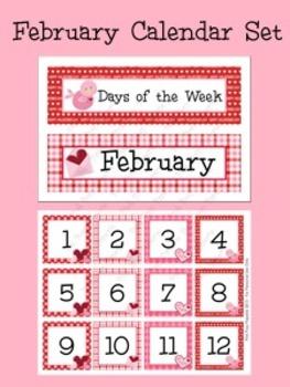 February Calendar Set - Numbers - Days of the Week